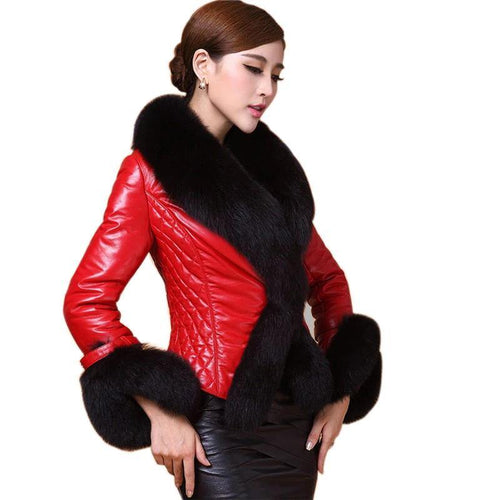 Women Faux Leather Jacket With Fur Collar Luxury Faux Fur Coats Jackets Short Embroidery Black Leather jacket