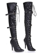 Load image into Gallery viewer, sexy boot over-the-knee boots buckle lacing 12cm heels boots women's dance boot