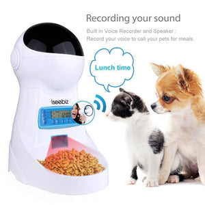 Automatic Pet Feeder Dogs Cats Food Dispenser with Voice Record Remind Timer Programmable Distribution Alarm IR Detect