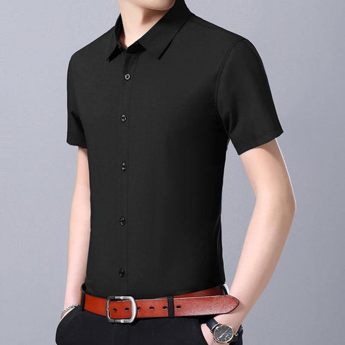 Fashion Man Dress Shirts Summer Regular Fit Short Sleeve Casual Shirt