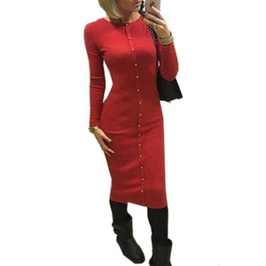 Long Sleeve Midi Women Dresses Party Autumn Winter Bodycon Dress Knit Casual Solid Buttons Office Dress