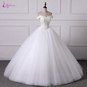 Ball Gown Wedding Dress Tulle Skirt Sweetheart Neckline Off The Shoulder Design