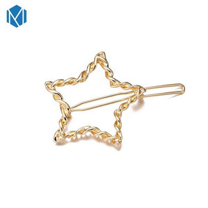 Fashion Hair Triangle Hair Clip Pin Geometric Alloy Hairband Moon Circle Hairgrip Barrette