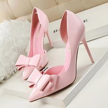 Load image into Gallery viewer, Fashion Delicate Sweet Bowknot High Heel Shoes Side Hollow Pointed Women Pumps Pointed Toe 10.5CM thin Dress Shoes