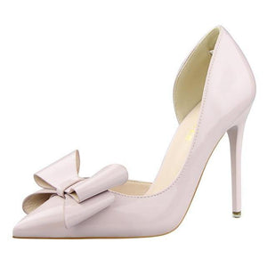 Fashion Delicate Sweet Bowknot High Heel Shoes Side Hollow Pointed Women Pumps Pointed Toe 10.5CM thin Dress Shoes - moonaro