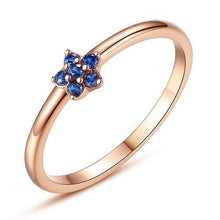 Load image into Gallery viewer, Authentic 100% 925 Sterling Silver Rose Gold Flower Ring Blue Clear CZ Crystal Finger Rings