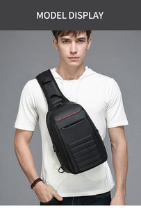 Multifunction Shoulder Bag Men Business Crossbody Bags USB Charging Design Chest Bag Waterproof Messenger Bag Male