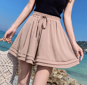 Summer Chiffon Shorts Korean Ladies Double Layer High Waist Wide Leg Shorts Casual Loose Skirt Short For Women