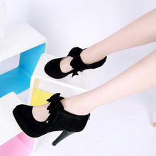 Load image into Gallery viewer, High Heels Women Bowtie Flock High Heel Dress Shoes Thin Heel Pointed Toe Women's Platform Shoes