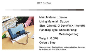 Women Bags Casual Chain Messenger Bag Lady's Denim Handbags Famous Brands Shoulder Bag Clutch Bags