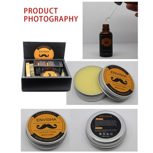 Beard Care Kit Balm Oil Moustache Cream Balm Beard Comb Conditioner for Groomed Beard Growth