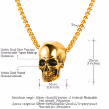 Load image into Gallery viewer, Jewelry Skull Necklace Stainless Steel Gothic Biker Pendant & Chain For Men/Women Punk Gift Gold/Black Color