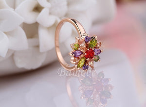 3 Colors  Rose Gold Color Finger Ring for Women with AAA Multicolor Cubic Zircon Wedding
