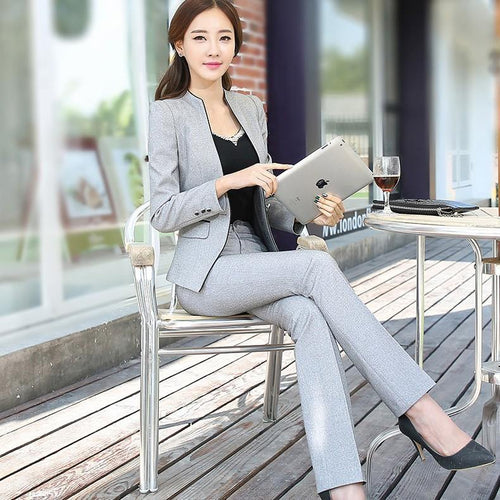 2 Pieces Set Pant Suit Business Style Jack with Trouser - moonaro