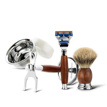 Load image into Gallery viewer, Shaving Safety Razor Gift Kit Cartridge 5 layers Blade Shaver Badger Hair Shaving Brush Cream Soap Bowl Set