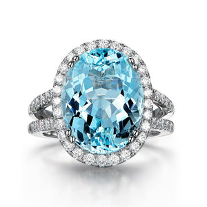 Big Oval Blue Topaz Halo Ring 925 Sterling Silver Double Layer Band Natural Gemstone Wedding Engagement Ring For Women