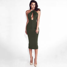Load image into Gallery viewer, Bodycon Bandage Dress Women Off Shoulder Choker Long Pencil Dress Sexy Backless Split Winter Dress