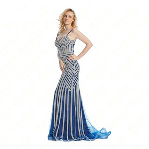 Crystal Royal Blue Color Party Occasion Formal Long Evening Dress