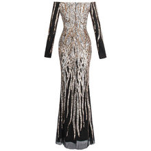 Load image into Gallery viewer, Women's Off Shoulder Long Sleeve Evening Dresses Twinkling Sequin Gold Party Gown
