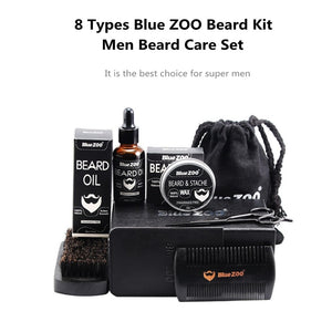 8pcs/set Men Beard Kit Barba Grooming Beard Set Beard Oil Moisturizing Wax Blam Comb Essence Styling Scissors Hair Men Beard Set