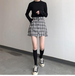 Fashion A-line Female Women Vintage Classic Button Line Mini Skirts - moonaro