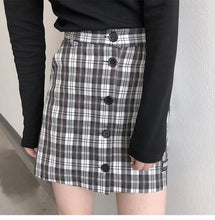Load image into Gallery viewer, Fashion A-line Female Women Vintage Classic Button Line Mini Skirts - moonaro