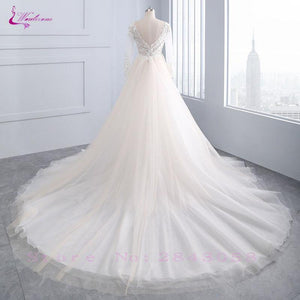 Chic Tulle Bridal Gown Exquisite Embroidery O-Neck 2 In 1 Detachable Train Wedding Dress Customize Made