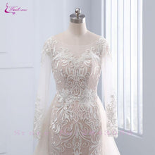 Load image into Gallery viewer, Chic Tulle Bridal Gown Exquisite Embroidery O-Neck 2 In 1 Detachable Train Wedding Dress Customize Made