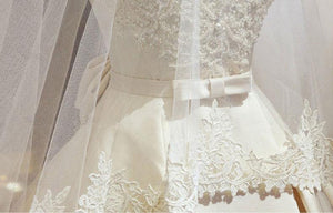 Lustrous Satin Boat Neck A-Line Wedding Dress Beading Pearls Appliques Lace Off The Shoulder With Bow Sash Bridal Gown