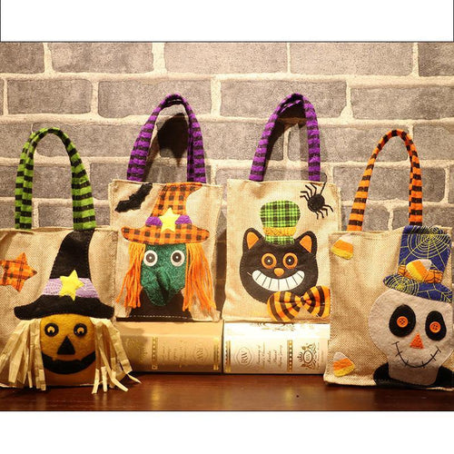 Halloween Decoration Linen Carrier Bag Halloween Party Gift Children Pumpkin Witch Black Cat White Ghost Candy Bag Decor