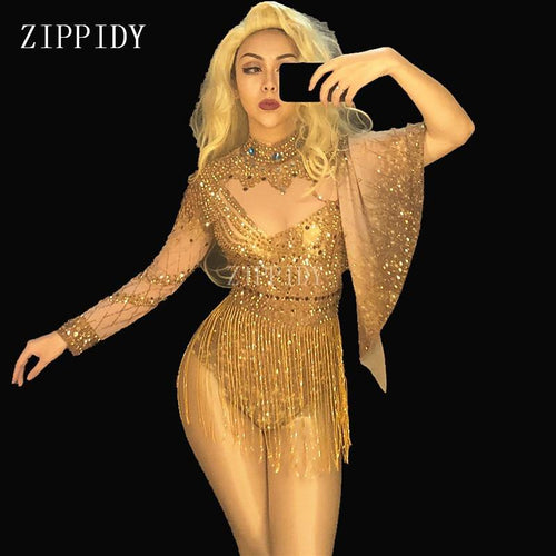 Shining Sexy Gold Rhinestones Bodysuit Costume Women's sexy Outfit Birthday Party Wear Female Singer Dance Stage