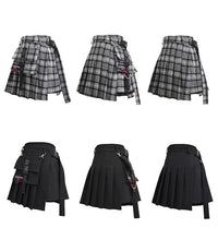 Load image into Gallery viewer, Women High Waist Shorts Skirts with Pocket Girl Vintage Plaid Irregular Pleated Fashion Mini Skirt - moonaro
