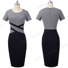 Load image into Gallery viewer, Women Winter Dress Patchwork Wear to Work Business Party Office Women Bodycon Dress