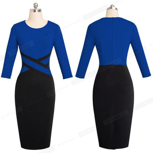 Women Winter Dress Patchwork Wear to Work Business Party Office Women Bodycon Dress