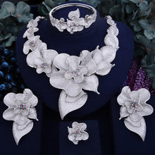 Load image into Gallery viewer, 103mm Super Luxury Begonia Flower Women Wedding Bride Cubic Zirconia Necklace 4PCS Jewelry Set High Jewelry