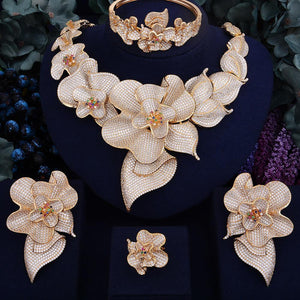 103mm Super Luxury Begonia Flower Women Wedding Bride Cubic Zirconia Necklace 4PCS Jewelry Set High Jewelry