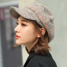 Load image into Gallery viewer, Women Wool Felt Berets High Quality Autumn Winter Hat Thick Warm Unisex Octagonal Newsboy Cap Retro Plaid Beret Cap