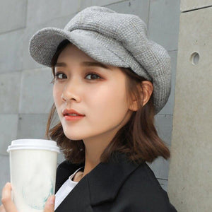 Women Wool Felt Berets High Quality Autumn Winter Hat Thick Warm Unisex Octagonal Newsboy Cap Retro Plaid Beret Cap