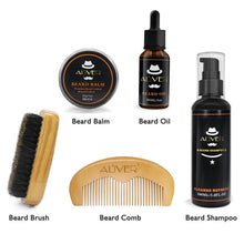 Load image into Gallery viewer, Men Beard Oil Kit With Moustache Shampoo 100ml+ Comb + Brush + Oil 30ml+Cream 30g Kit Male Beard Care Set