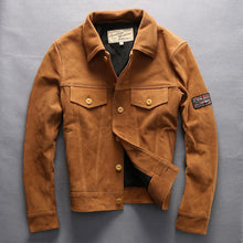 Load image into Gallery viewer, men's vintage genuine cow skin leather jacket
