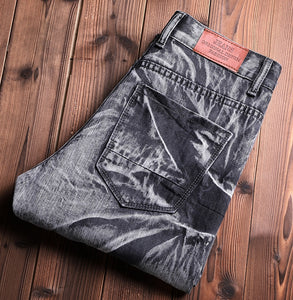 Jeans Homme Mens Men'S Classic Fashions Pants Denim Biker Pant Slim Fit Baggy Straight Trousers Ripped