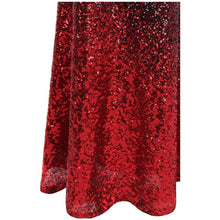 Load image into Gallery viewer, Women's One Shoulder Pleated Splicing Gradient Sequin Contrast Color Black Red Split Party Dress