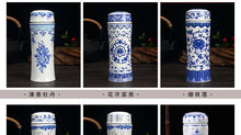 Load image into Gallery viewer, Double-deck ceramic insulated Thermos Celadon Business Cup Carved out Pattern Thermal vaccum water bottle