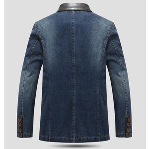 Men's Denim Blazer Fashion Male Slim Fit Casual Denim Coat Jacket Men Blazer Coat - moonaro