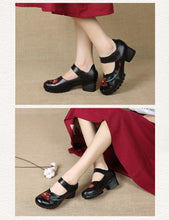 Load image into Gallery viewer, Women Sandals Summer Shoes Women Casual Thick heels pumps Genuine leather