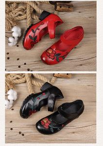 Women Sandals Summer Shoes Women Casual Thick heels pumps Genuine leather