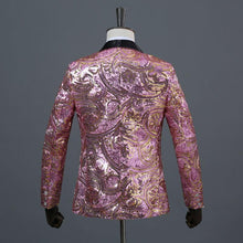 Load image into Gallery viewer, Men's Pink Gold Flower Sequins Fancy Paillette Wedding Singer Stage Performance Suit Jacket DJ Blazer With Bow Tie