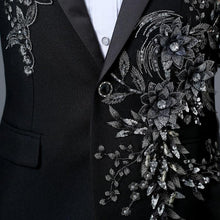Load image into Gallery viewer, Male Double-side 3D Crystal Embroidery Flowers Stage Singer Nightclub Suit Jacket Tide Bar Men's Wedding Blazer - moonaro