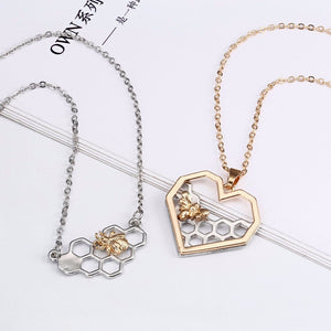 Silver Necklaces for Women Girl Heart Honeycomb Bee Animal Pendant Choker Necklace Jewelry Party Gift