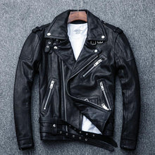 Load image into Gallery viewer, 100% Natural Sheepskin Tanned Leather Jacket Black Soft Men's Motocycle Jackets Motor Clothing Biker Coat Autumn